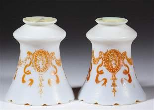 STEUBEN GOLD AURENE ON CALCITE ART GLASS PAIR OF LAMP