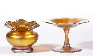 STEUBEN GOLD AURENE IRIDESCENT ART GLASS ARTICLES, LOT