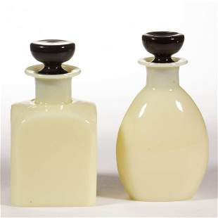 STEUBEN ART GLASS TOILET / COLOGNE BOTTLES, LOT OF TWO