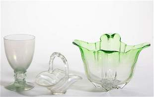 STEUBEN ATTRIBUTED ART GLASS ARTICLES, LOT OF THREE