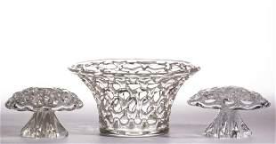STEUBEN LATTICE ART GLASS ARTICLES, LOT OF THREE