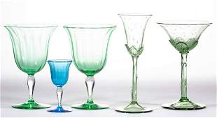 STEUBEN ART GLASS DRINKING ARTICLES, LOT OF FIVE