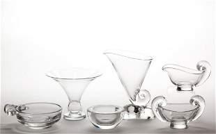 STEUBEN CRYSTAL ART GLASS ARTICLES, LOT OF SIX