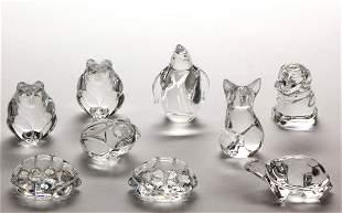 STEUBEN CRYSTAL ART GLASS FIGURINES / PAPERWEIGHTS, LOT