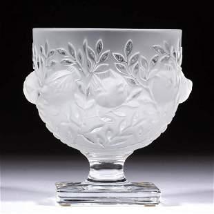 LALIQUE ELIZABETH ART GLASS FOOTED BOWL