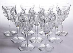 BACCARAT HARCOURT CRYSTAL ART GLASS GOBLETS, LOT OF