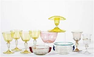 ASSORTED VENETIAN / MURANO ART GLASS ARTICLES, LOT OF