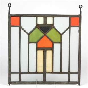 FRANK LLOYD WRIGHT-STYLE STAINED GLASS WINDOW PANE