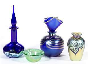 CORREIA STUDIO ART GLASS ARTICLES, LOT OF FOUR