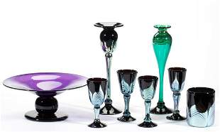 CORREIA STUDIO ART GLASS ARTICLES, LOT OF EIGHT