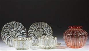ASSORTED LATTICINIO ART GLASS ARTICLES, LOT OF SIX