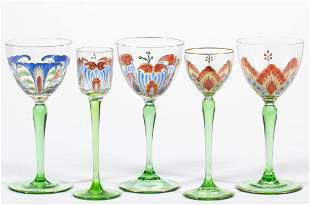BOHEMIAN THERESIENTHAL STAINED GLASS DRINKING VESSELS,