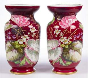 CONTINENTAL OLD PARIS PORCELAIN PAIR OF VASES