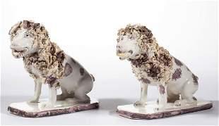 CONTINENTAL FAIENCE TIN-GLAZED CERAMIC POODLE DOG PAIR