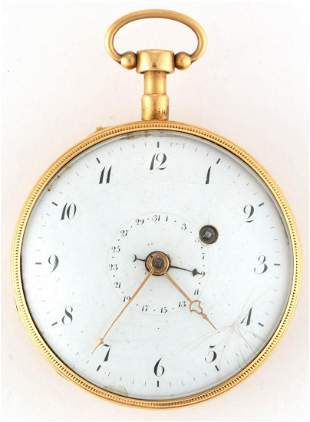 FRENCH 18K GOLD CASE QUARTER REPEATER POCKET WATCH