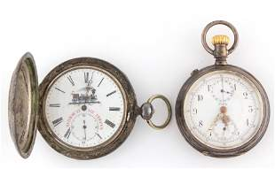 ANTIQUE SILVER-CASED POCKET WATCHES, LOT OF TWO
