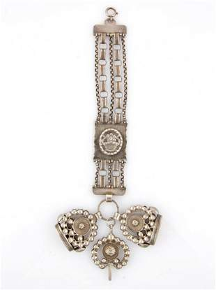 DUTCH ANTIQUE 0.833 SILVER WATCH CHAIN WITH FOBS