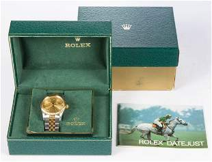 VINTAGE ROLEX OYSTER PERPETUAL DATEJUST 18K GOLD AND