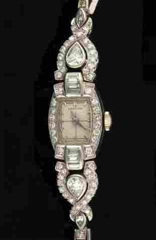 VINTAGE PLATINUM AND 2.61 CTW DIAMOND LADY'S WRIST