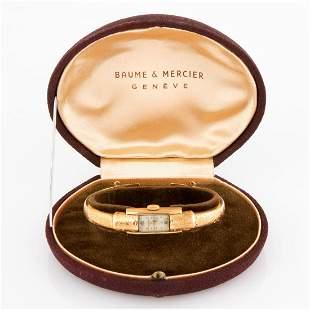 BAUME & MERCIER VINTAGE SWISS 18K YELLOW GOLD LADY'S