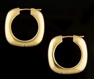 TIFFANY & CO. 18K YELLOW GOLD HOOP EARRINGS, PAIR
