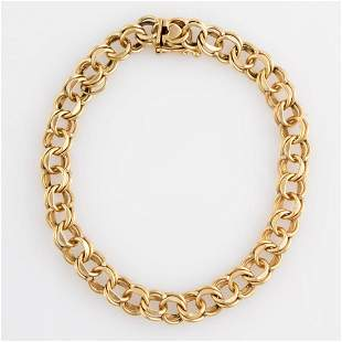 VINTAGE 14K YELLOW GOLD DOUBLE-LINK CHAIN BRACELET