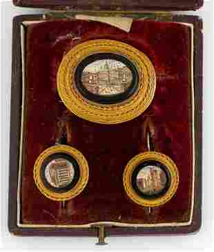 ANTIQUE GRAND TOUR MICROMOSAIC AND GOLD JEWELRY
