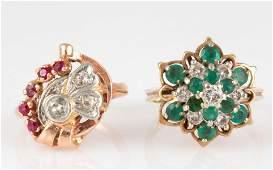 VINTAGE 14K GOLD, DIAMOND, AND GEMSTONE LADY'S RINGS,
