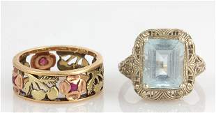 ANTIQUE / VINTAGE 14K GOLD AND GEMSTONE LADY'S RINGS,