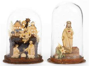 VICTORIAN MINIATURE WAX DIORAMAS, LOT OF TWO