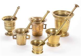 BRITISH / CONTINENTAL BRASS MORTARS AND PESTLES, LOT OF