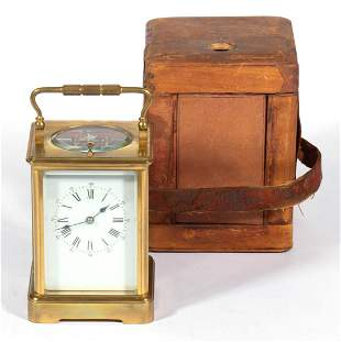 FRENCH BRASS REPEATING CARRIAGE CLOCK WITH TRAVELING