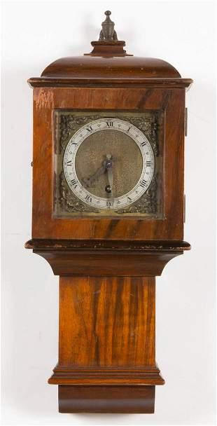 ENGLISH MAHOGANY DIMINUTIVE WALL CLOCK