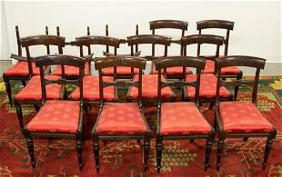 AMERICAN OR BRITISH MAHOGANY SIDE CHAIRS, SET OF 13