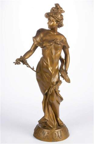 CONTINENTAL PATINATED METAL FIGURE OF A LADY