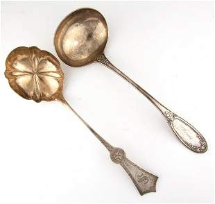 NEW YORK COIN SILVER SOUP LADLES, LOT OF TWO