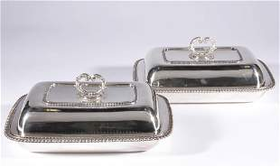GEORGIAN ENGLISH STERLING SILVER PAIR OF COVERED