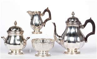 FRENCH 0.950 SILVER FOUR-PIECE BREAKFAST / INDIVIDUAL