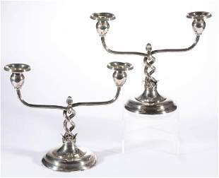 DOMINICK & HAFF WEIGHTED STERLING SILVER CANDELABRA,