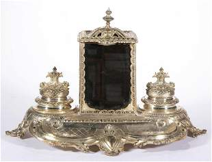 PROBABLY ENGLISH ROCOCO-STYLE SILVER-PLATED INKSTAND