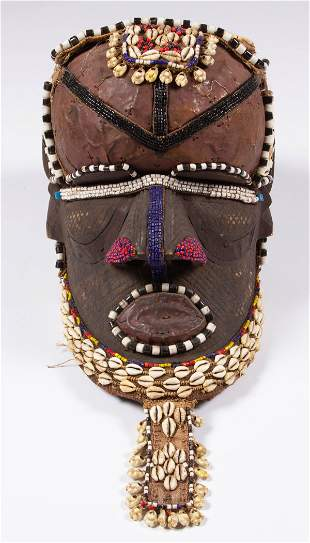AFRICAN COWRIE SHELL AND BEADED HELMET MASK