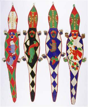 AFRICAN TRIBAL BEADED WALL HANGING, LOT OF FOUR