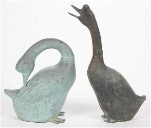 CAST-METAL CHINESE GEESE GARDEN FIGURES, LOT OF TWO