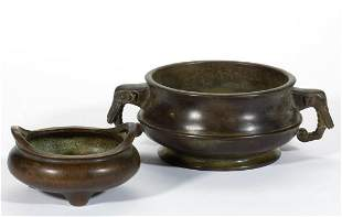 CHINESE MING-STYLE BRONZE CENSERS, LOT OF TWO