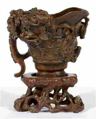 CHINESE WOOD CARVED CUP WITH STAND