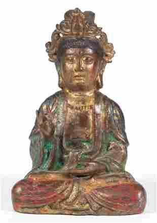 TIBETAN PAINTED BRONZE BUDDHA FIGURE