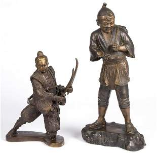 ASIAN BRONZE STATUES, LOT OF TWO
