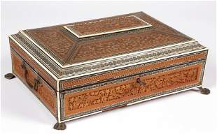 ANGLO-INDIAN CARVED AND INLAID SEWING BOX