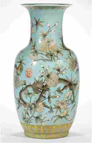 CHINESE EXPORT PORCELAIN QING-STYLE FAMILLE ROSE VASE