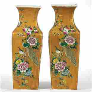 CHINESE EXPORT PORCELAIN FAMILLE ROSE PAIR OF VASES